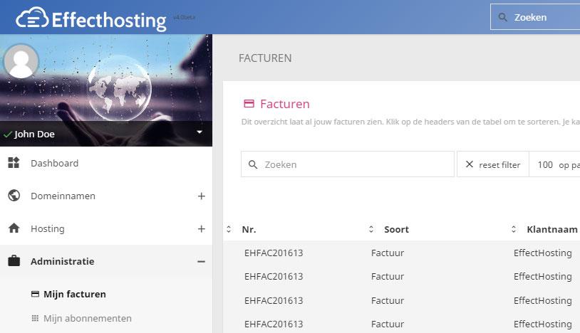 EffectHosting-Administratie