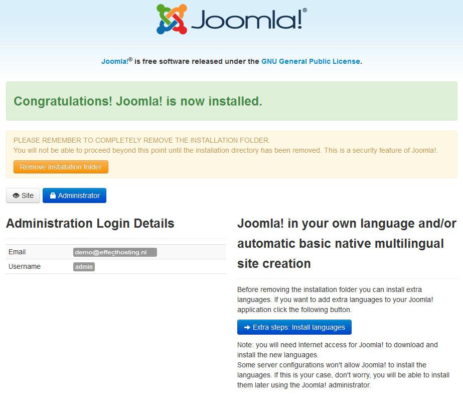 Joomla-succesvol-geinstalleerd